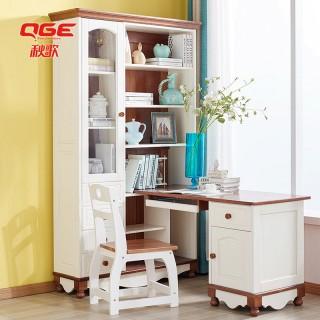 实木台式电脑桌书柜组合