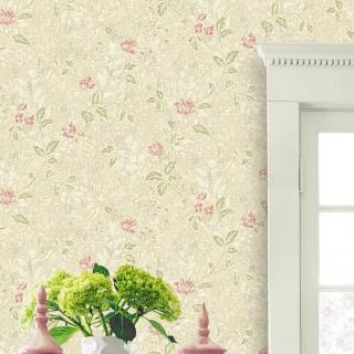 无纺布欧式田园壁纸客厅背景墙卧室温馨小花非自粘墙纸
