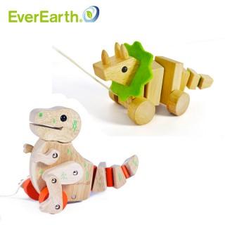 积木恐龙造型木制拖车
