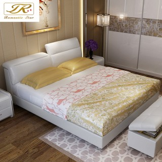 智能榻榻米真皮床皮藝床婚床雙人床現代婚床儲物軟床臥室家具皮床