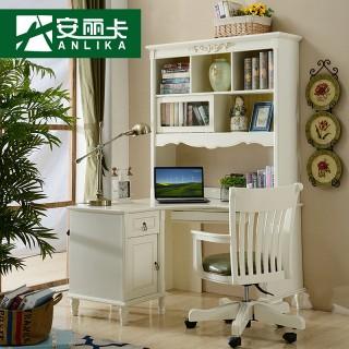 欧式田园实木转角书桌书架组合带书柜简欧电脑桌书台学习写字桌子