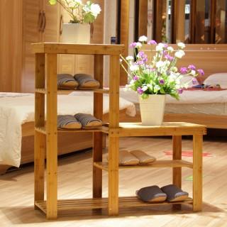 楠竹高低换鞋凳鞋架鞋柜