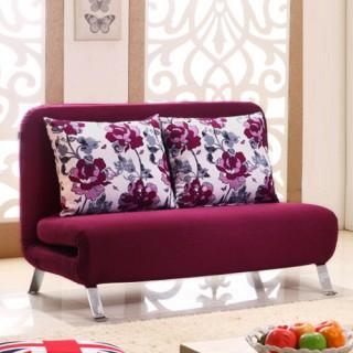 金海马商城 紫红色 布艺 功能沙发床  vv955 ¥1999 返 379.