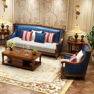 美式实木沙发欧式真皮实木沙发123组合