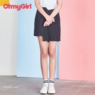 腰节下摆不对称设计条纹短裙