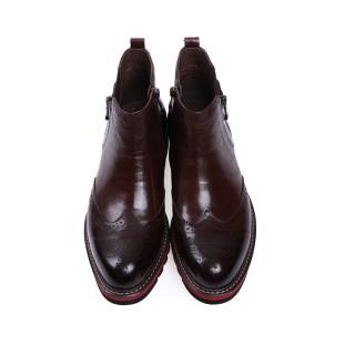 【哈森男鞋】圆头布洛克低跟牛皮鞋ma55043图片