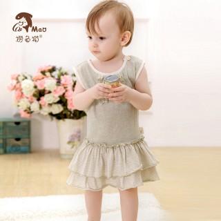 彩棉女宝宝可爱公主裙婴儿高档无袖连衣裙