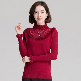 烫钻木耳边蕾丝拼接半高领长袖针织毛衣