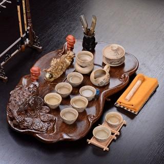 实木茶盘紫砂茶具套装