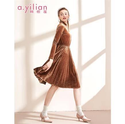 阿依莲 173284A525 女士收腰平绒连衣裙